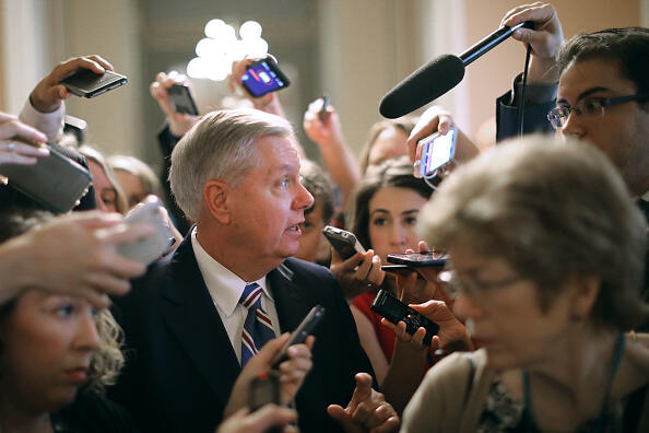 WASHINGTON, DC - JULY 13:  Sen. Lindsey Graham (R-SC) leaves a meeting where a new version of a GOP healthcare bill was unveiled to Republican senators at the U.S. Capitol July 13, 2017 in Washington, DC. The latest version of the proposed bill aims to repeal and replace the Affordable Care Act, also knows as Obamacare.  (Photo by Chip Somodevilla/Getty Images)