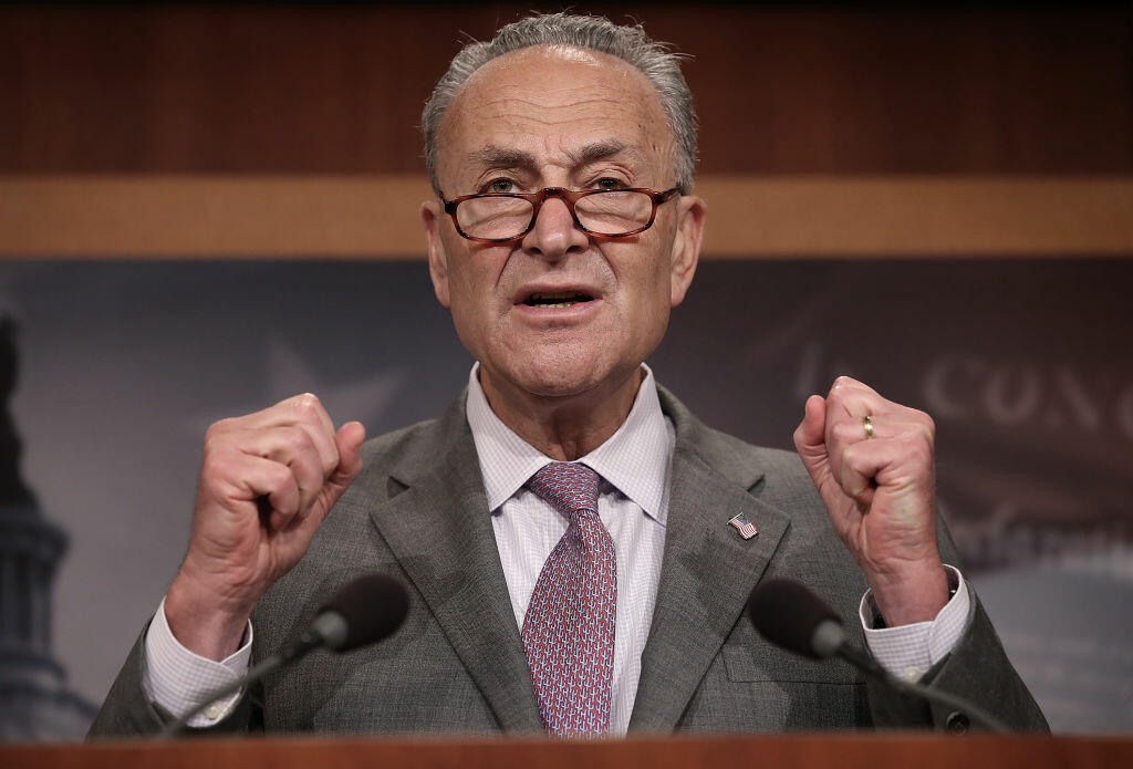 WASHINGTON, DC - JULY 13:  Senate Minority Leader Chuck Schumer (D-NY) speaks during a press conference at the U.S. Capitol July 13, 2017 in Washington, DC. Schumer and Democratic leaders spoke out on the newly revised version of the Republican healthcare plan designed to repeal and replace the Affordable Care Act, also known as Obamacare. (Photo by Win McNamee/Getty Images)