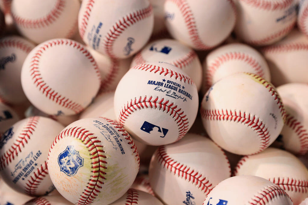 PHOENIX, AZ - APRIL 02:  Detail of baseballs during batting practice to the MLB opening day game between the San Francisco Giants and the Arizona Diamondbacks at Chase Field on April 2, 2017 in Phoenix, Arizona.  (Photo by Christian Petersen/Getty Images)