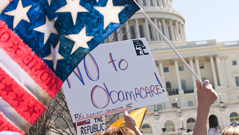 Supporters of the Tea Party movement demonstrate outside the US Capitol in Washington, DC, on March 20, 2010 against the healthcare bill which is expected to be voted on March 21. US President Barack Obama looked to energize his Democratic allies with an