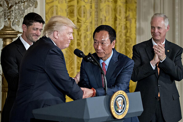 Trump announced that Foxconn plans a new factory in Wisconsin, fulfilling the Taiwanese manufacturing giants promise to invest in the U.S. Photographer: Andrew Harrer/Bloomberg via Getty Images