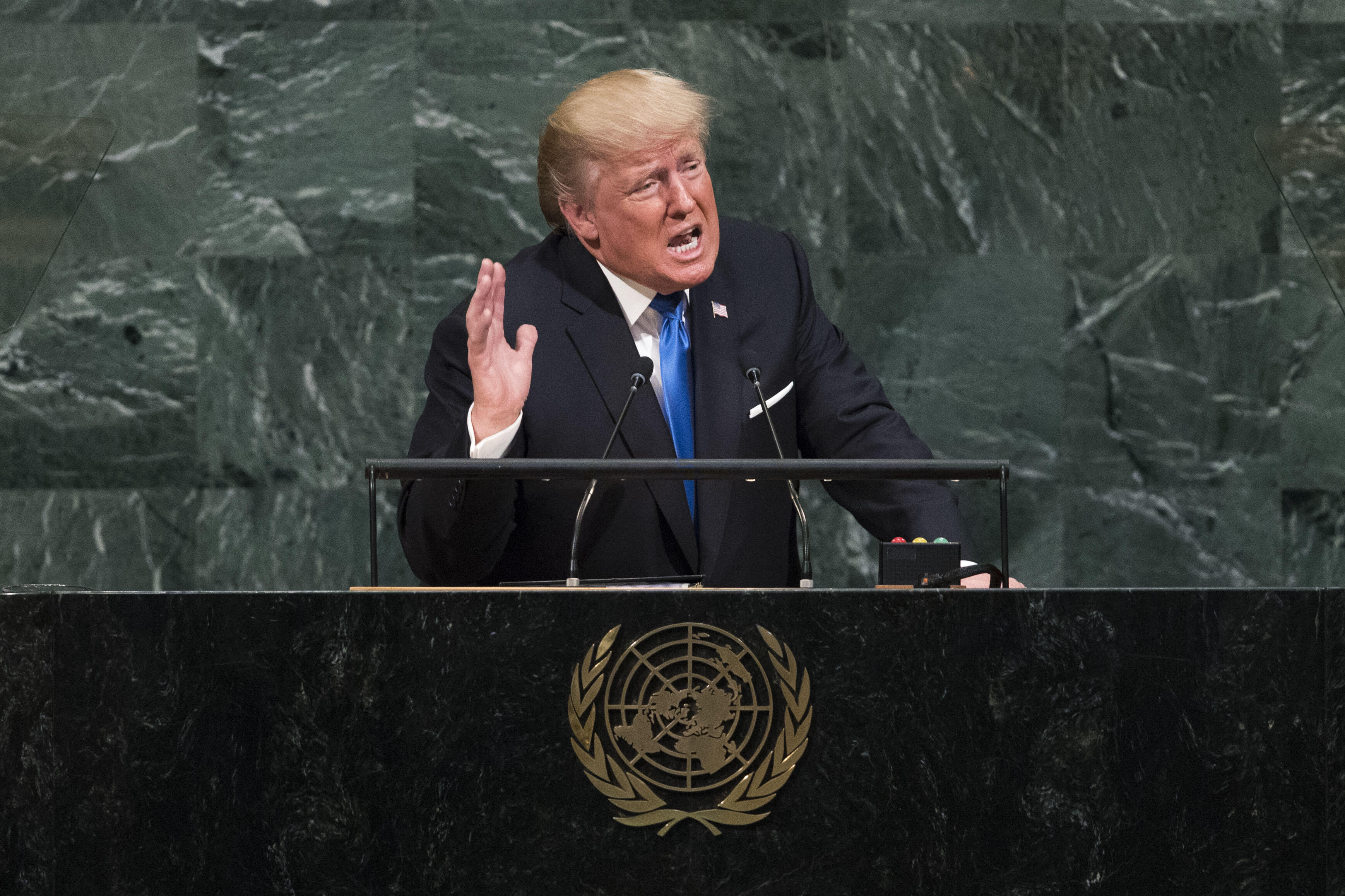NEW YORK, NY - SEPTEMBER 19: U.S. President Donald Trump addresses the United Nations General Assembly at UN headquarters, September 19, 2017, in New York City. Among the issues facing the assembly, this year are North Korea's nuclear development, violence against the Rohingya Muslim minority in Myanmar and the debate over climate change. (Photo by Drew Angerer/Getty Images)