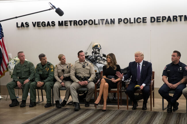 President Trump Meets With First Responders And Civilians Involved In Route 91 Harvest Festival Mass Shooting