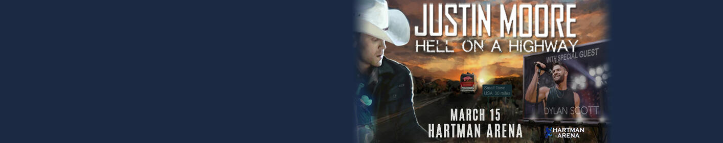 Justin Moore at Hartman Arena on March 15th!