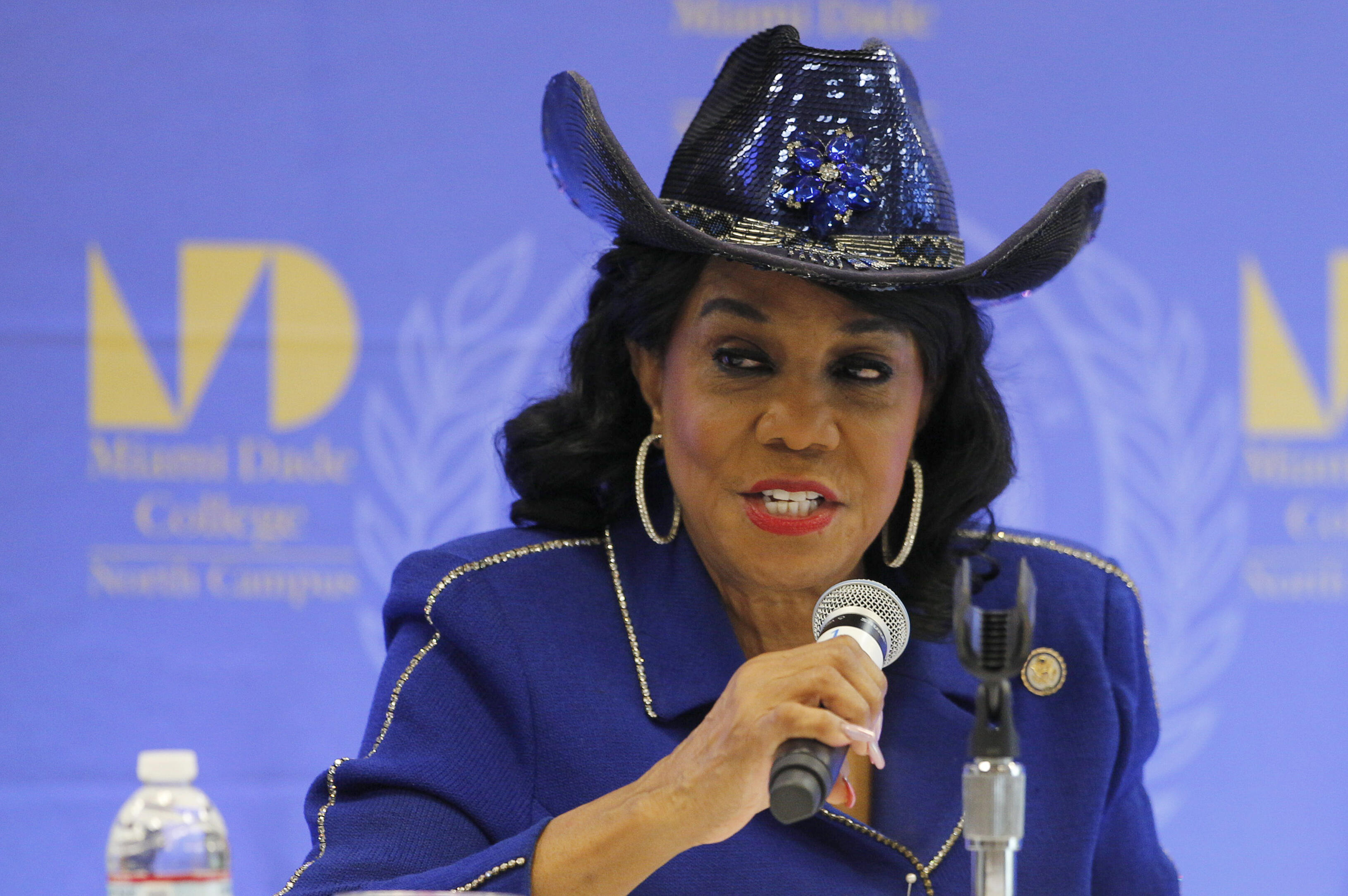 MIAMI, FL - OCTOBER 19: Rep. Frederica Wilson (D-FL) speaks at a Congressional field hearing on nursing home preparedness and disaster response October 19, 2017, in Miami, Florida. The hearing comes in the wake of fourteen patient deaths at the Rehabilitation Center of Hollywood Hills, Florida, which lost power after Hurricane Irma struck Florida. The nursing home deaths remain under police investigation. (Photo by Joe Skipper/Getty Images)