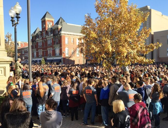 High school students filled the street in front of the courthouse at the M.A.D.E. Rally in downtown Chillicothe, Ohio.