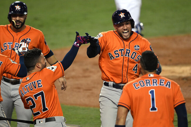 George Springer after hitting another HR. 5 in this series.