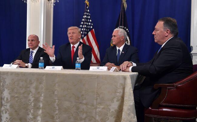 President Trump with National Security Advisor H. R. McMaster, VP Pence, CIA Dir. Pompeo