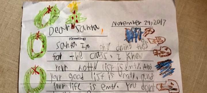 6 year old rips santa claus in viral letter your life is empty a 6 year old kids letter to santa claus is going viral for how savage it is in the letter shared by nprs sarah mccammon her son takes on st nick spiritdancerdesigns Images