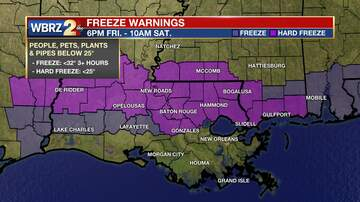 DEMCO Stormwatch - WBRZ Weather: Hard Freeze Warning Overnight