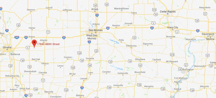 Location of school bus fire near Oakland, Iowa. Google Maps