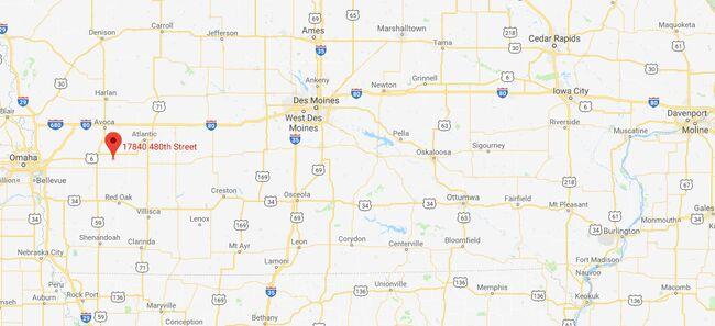 Location of school bus fire near Oakland, Iowa. Google Maps