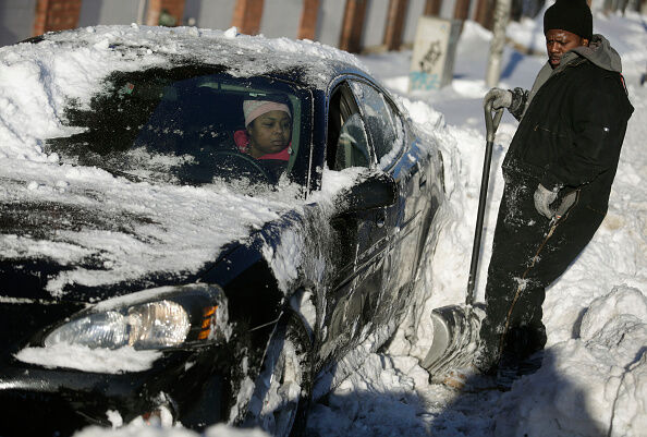 The D was hit hard with snow, causing hundreds of school closings.