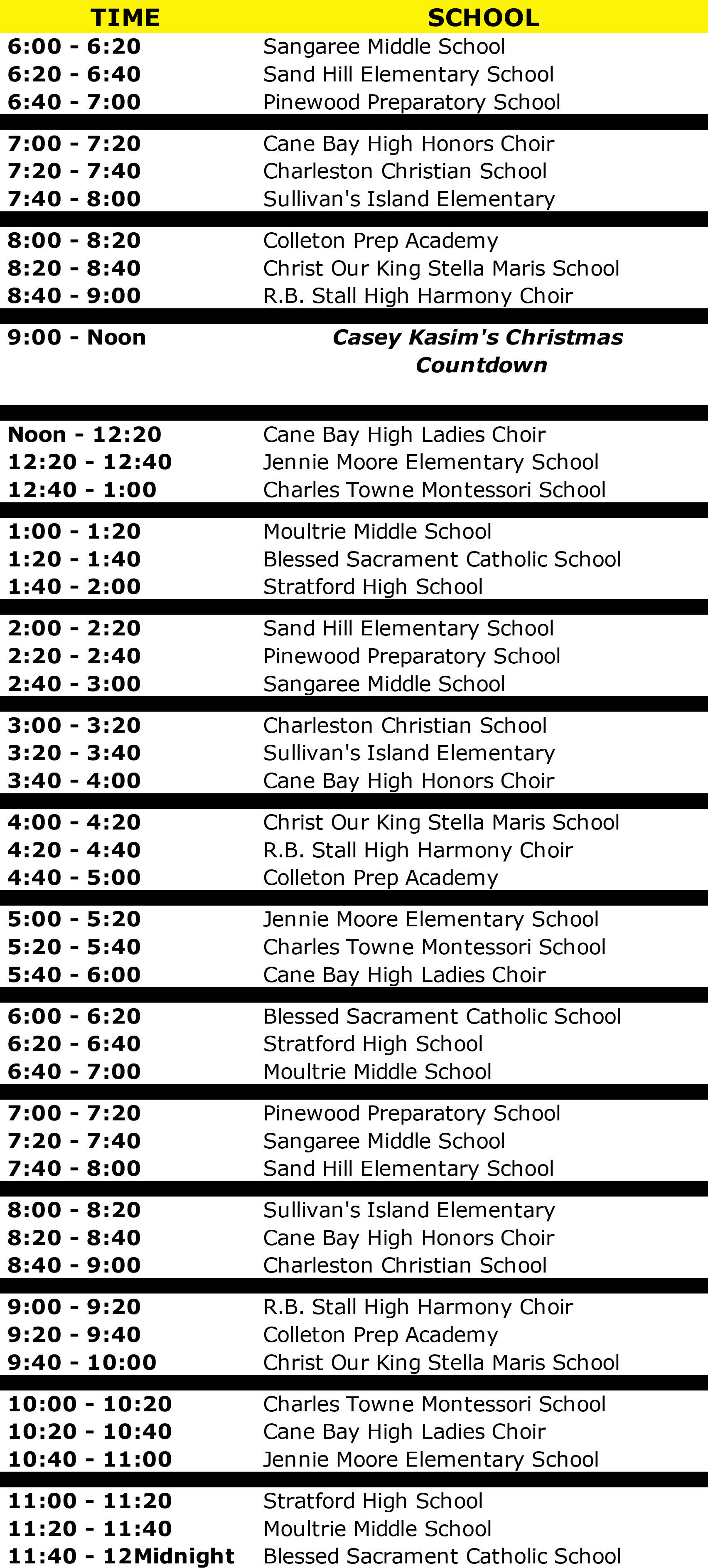 Christmas Live Replay Schedule | Y102.5 Charleston