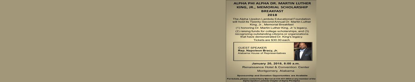 Alpha Phi Alpha MLK Scholarship Breakfast January 20th at 8:00 AM