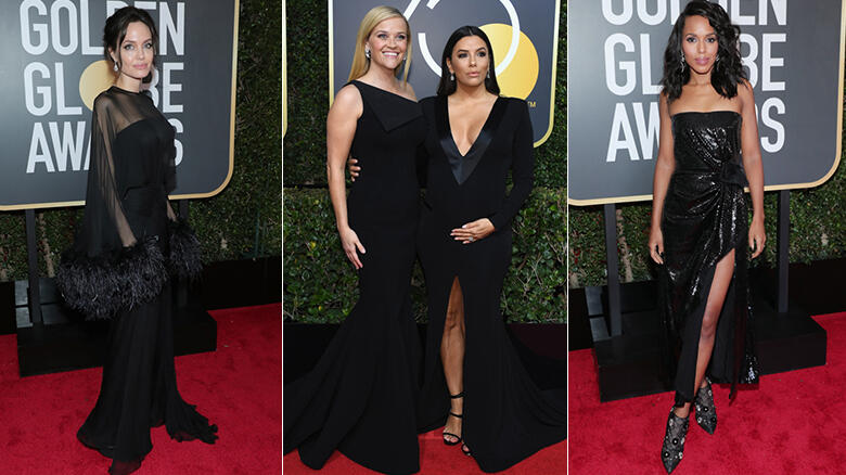 Black Dresses Dominate The Golden Globes Red Carpet Iheartradio