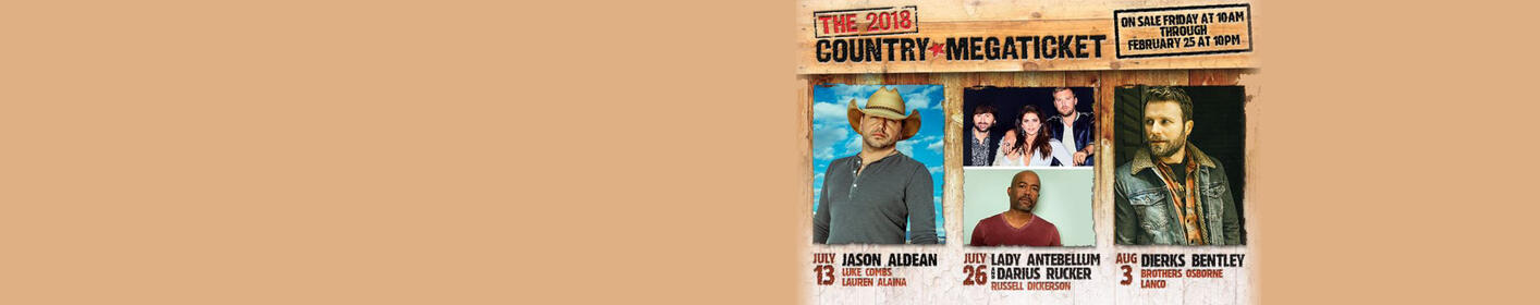 See 3 Concerts at Bethel Woods with The 2018 Country Megaticket