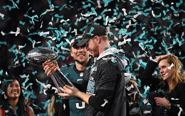 Carson Wentz holds the Lombardi Trophy, Getty Images