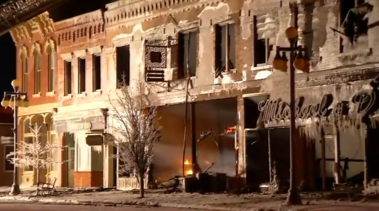 Fire destroys three businesses in Vinton, Iowa.  Photo by KCRG TV