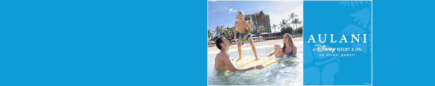 Enter for a chance to win a vacation to Aulani, A Disney Resort & Spa, in Hawai'i !