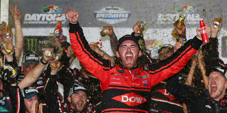 Dillon Wins Dayton 500 With Late Pass