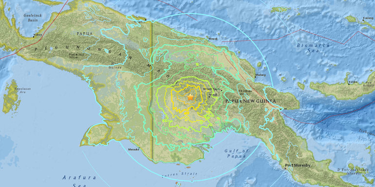 USGS Reports 7.5 Magnitude Earthquake Near Papua New Guinea