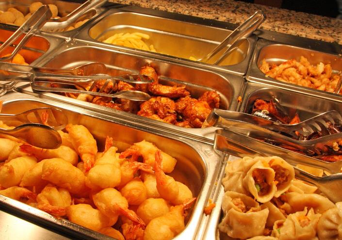Asian buffet food