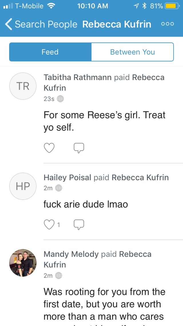 Bachelor Fan's Spam Becca K.'s Venmo!