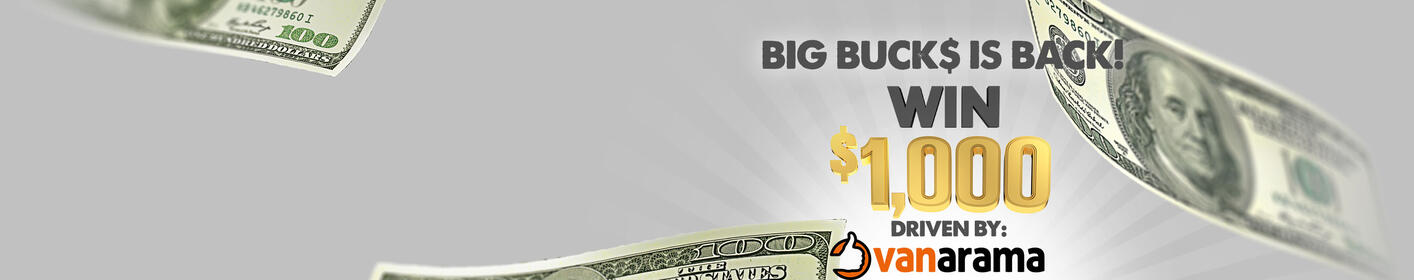 Win $1,000 At The Top Of Every Hour 6am-9pm with Big Buck$ on The Bull!
