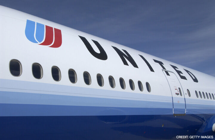 ELK GROVE VILLAGE, IL - FEBRUARY 19: A newly painted United Airlines jet is seen in this UAL handout photograph from its corporate headquarters February 19, 2004 in Elk Grove Village, Illinois. United Airlines has unveiled new colors for their jets as they start a new advertising campaign. (Photo by United Airlines via Getty Images)