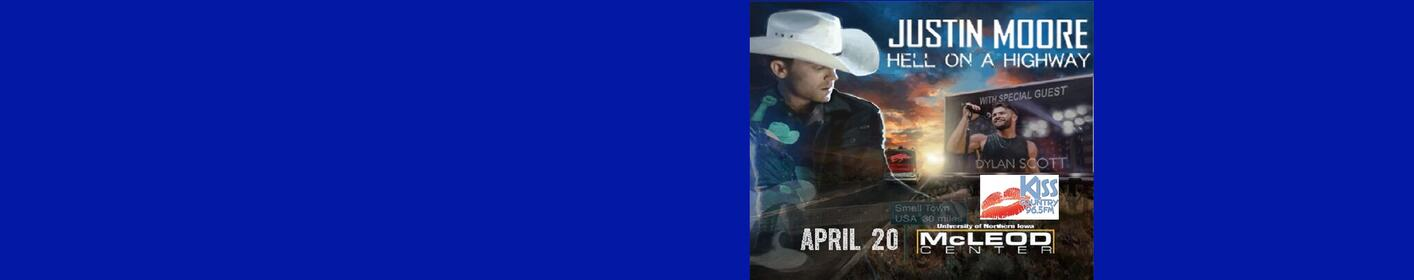 965 Kiss Country Welcomes Justin Moore to the McLeod Center ~ April 20th!