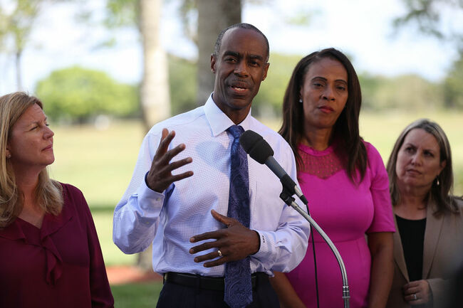 PARKLAND, FL - FEBRUARY 28: Broward Schools Superintendent Robert Runcie speaks to the media after students attended classes at Marjory Stoneman Douglas High School for the first time since the shooting that killed 17 people on February 14 at the school on February 28, 2018 in Parkland, Florida. Police arrested 19-year-old former student Nikolas Cruz for the 17 murders. (Photo by Joe Raedle/Getty Images)