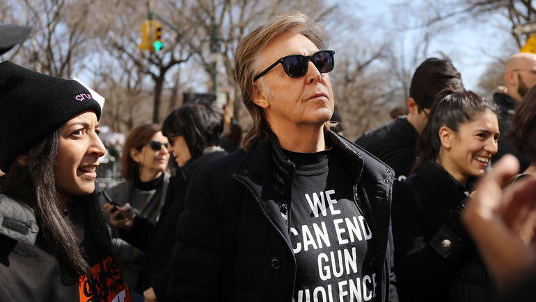 Sir Paul McCartney Alludes To John Lennon At #MarchforourLives