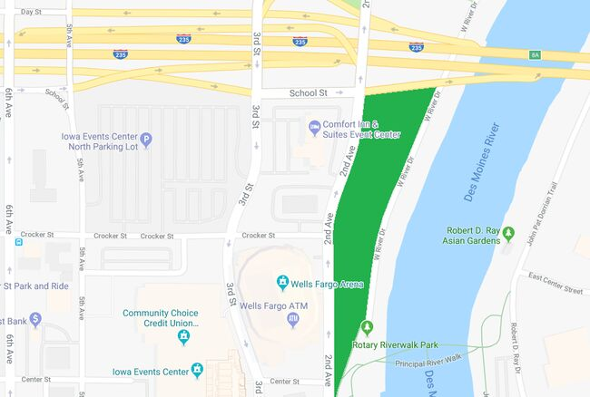 Location of planned Des Moines skate park shown in green. Google maps