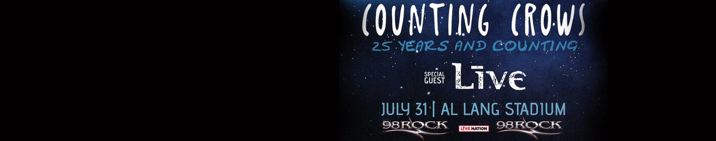 Listen weekdays at 6:40a to win tickets to 98ROCK Presents Counting Crows with special guest LIVE