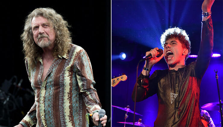 Robert Plant (left) and Robert Plant impersonator Josh Kiszka (right).