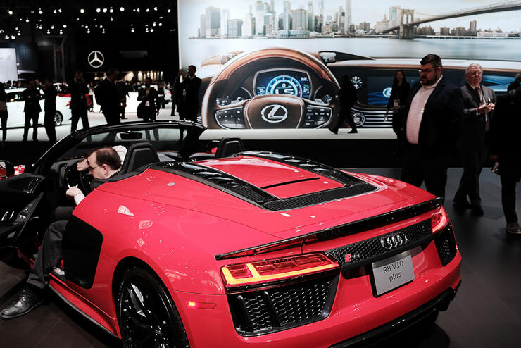 The 2018 Audi R8 5 2 V10 Plus Is Displayed At New York International Auto Show Jacob K Javits Convention Center On March 28 In