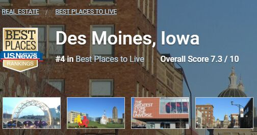 Des Moines upped near top of U.S. News and World Report list