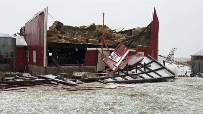 Barn roof ripped off near Story City, Iowa.  Photo WHO TV