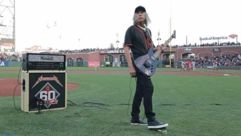 "Watch Kirk Hammett Perform National Anthem at SF Giants' ""Metallica Night"""