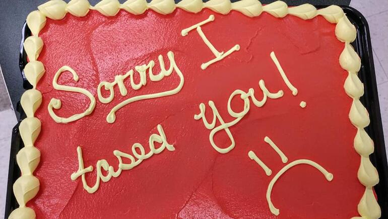 """Sorry I Tased You!"" Ohio Officer Apologizes With Personalized Cake"