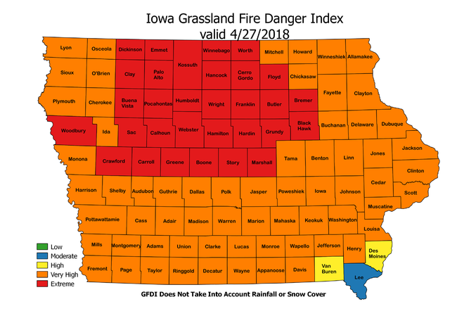 Iowa Fire Danger Map 04/27/18