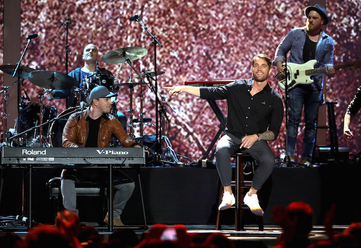 """Gavin DeGraw and Brett Young perform """"Solider"""" during iHeartCountry Festival"""