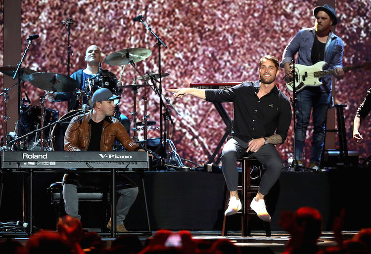 "Gavin DeGraw and Brett Young perform ""Solider"" during iHeartCountry Festival"