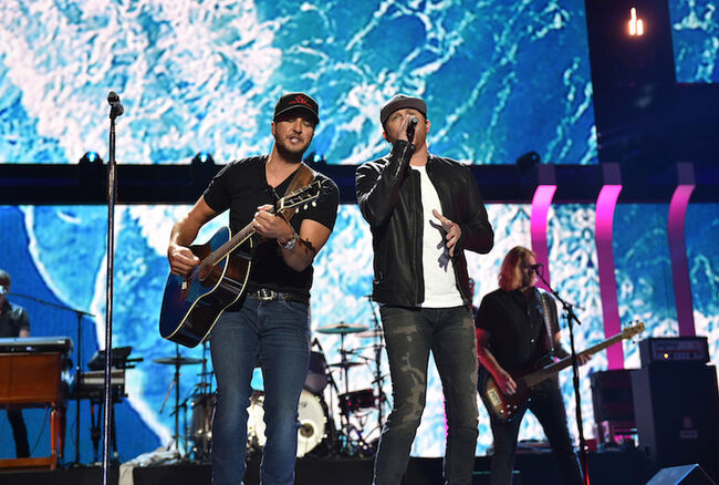 Luke Bryan & Cole Swindell perform live during the iHeartCountry Festival