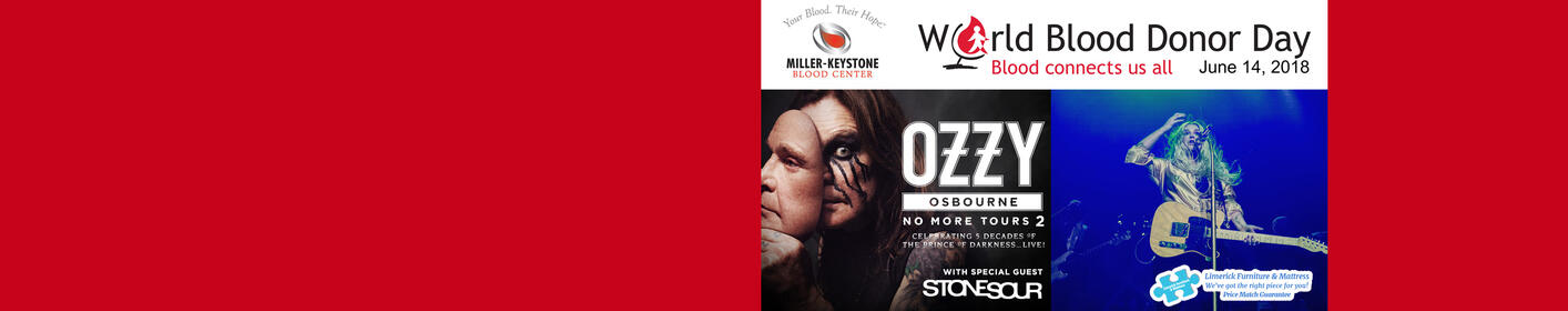 Join B104 & ZZO at Miller Keystone Blood Center on 'World Blood Donor Day' June 14th! WIN Tickets to Kesha & OZZY!