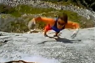 Woman Insanely Climbs Rock Face Without Rope