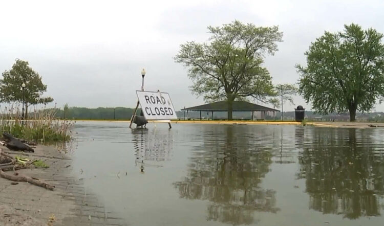 Mississippi River flooding closes roads in Davenport, Iowa.  Photo WHO TV