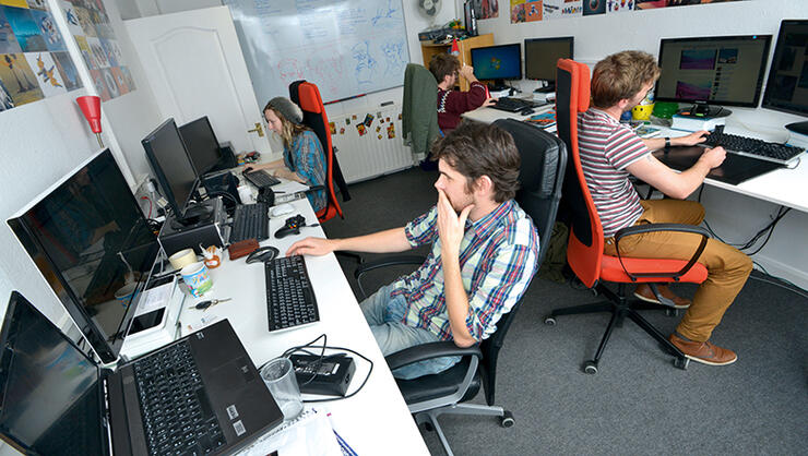 people sitting in an office