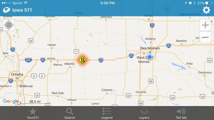 511 IA Department of Transportation map screenshot shows location of interstate closure Saturday